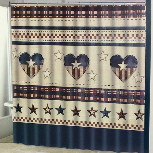 Americana Patriotic Hearts with Stars and Stripes Fabric Shower Curtain