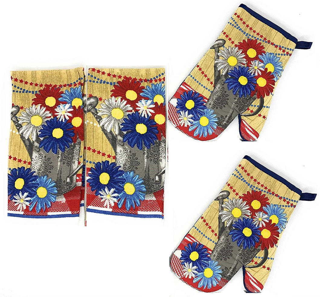 Patriotic Flowers Watering Can 4 pc kitchen towels oven mitts set