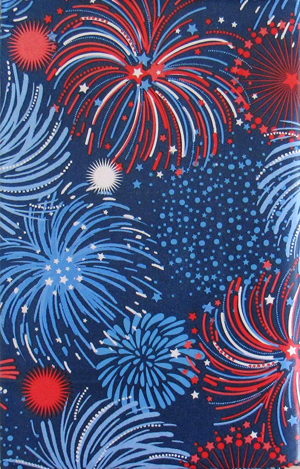 Patriotic Red White Blue Fireworks Montage Vinyl Flannel Back Tablecloth 60 Rd
