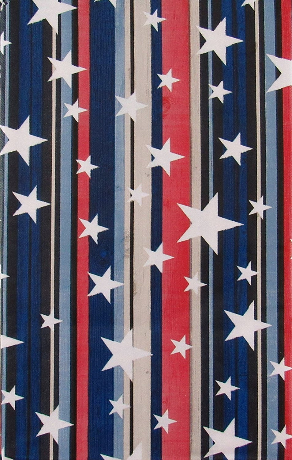 Patriotic Stars Red White Blue Stripes Vinyl Flannel Back Tablecloth Various Sizes
