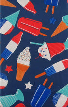 Patriotic Treats Popsicles Ice Cream Vinyl Flannel Back Tablecloth 60 Round
