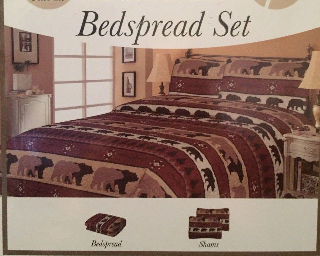 Pine Trees and Bears Bedspread Set Full Woodland Lodge
