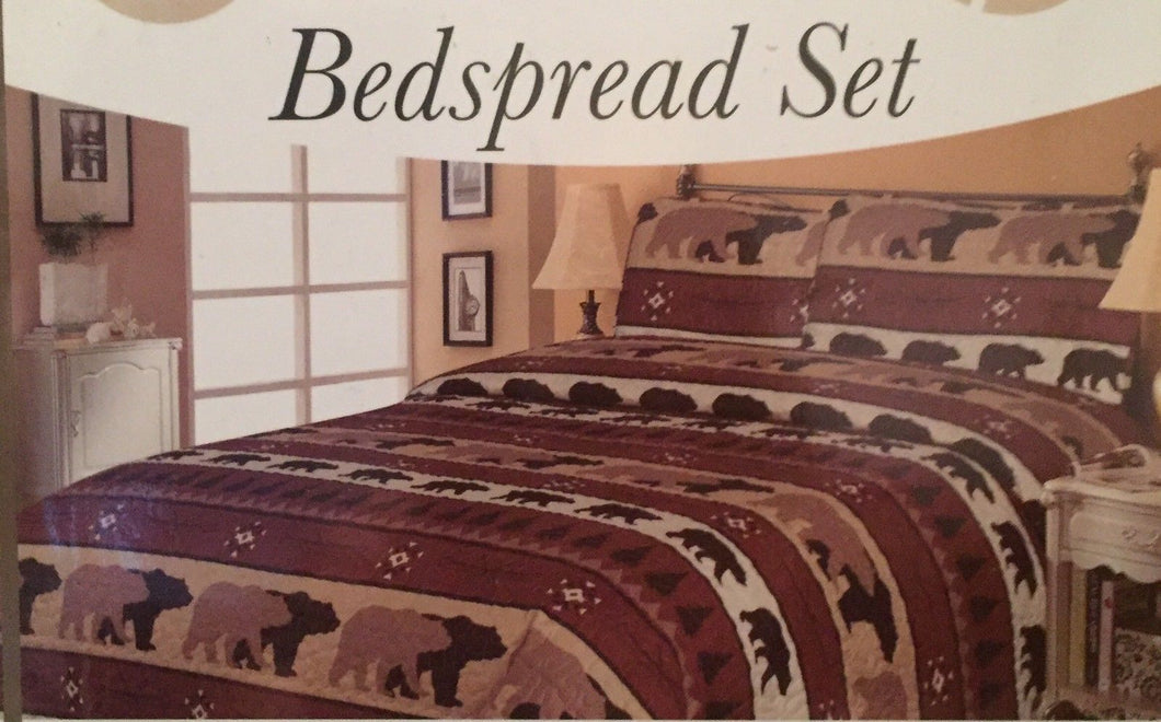 Pine Trees and Bears Bedspread Set Twin Woodland Lodge