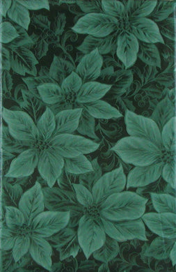 Poinsettias Holly Berries Vinyl Flannel Tablecloth 52x70 Oblong Christmas Green