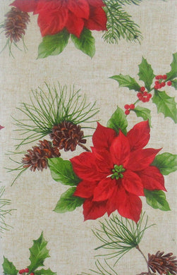 Christmas Poinsettias and Pine Cones vinyl flannel back tablecloth 52 x 90