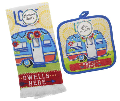 Love Dwells Here 2 pc kitchen towel potholder set Camper Trailer Camping