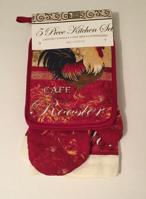Red Cafe Rooster 5-pc Kitchen Set Towels Pot Holders Oven Mitt