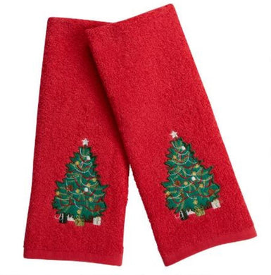 Red Traditional Christmas Tree Embroidered Hand Towels Set of 2