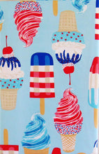 Red White Blue Popsicles Ice Cream Cones Vinyl Flannel Back Tablecloth 60 Round