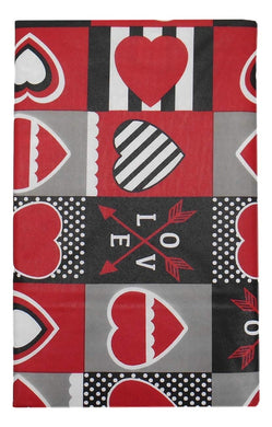 Valentines Day Vinyl Flannel Tablecloth Red Black Hearts Arrows Various Sizes