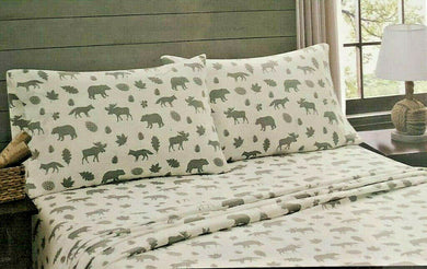 Twin Sheet Set Gray Moose Bears Cabin Lodge Remington
