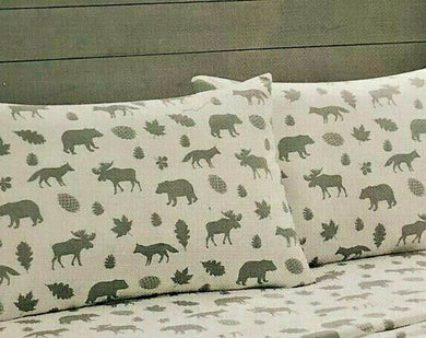 Pillowcases Gray Moose Bears Cabin Lodge Remington Set of 2