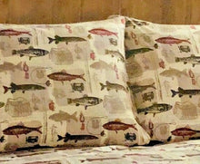 Pillowcases Fish Trout Fishing Rods Lures Beige Remington Set of 2