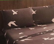 Ducks Geese on Gray Twin Sheet Set Wilderness Woodland Cabin Remington