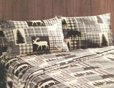 Remington Twin Sheet Set Moose Bear Deer Pine Trees Woodland Cabin