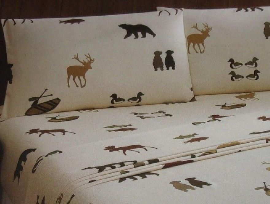 Deer Bear Canoes Ducks Twin Sheet Set Wilderness Woodland Cabin Remington
