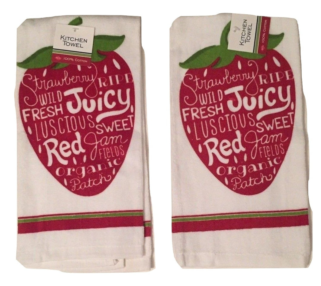 Ritz Red Juicy Strawberries kitchen dish towels Set of 2