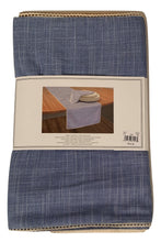 Rory Modern Southern Home Fabric Table Runner 14 x 70 Indigo Blue Crocheted Trim