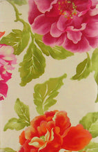 Roses Orange Pink Purple Flowers Vinyl Flannel Back Tablecloth 60 Round