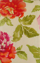 Roses Orange Pink Purple Flowers Vinyl Flannel Back Tablecloth 52 x 90 Oblong