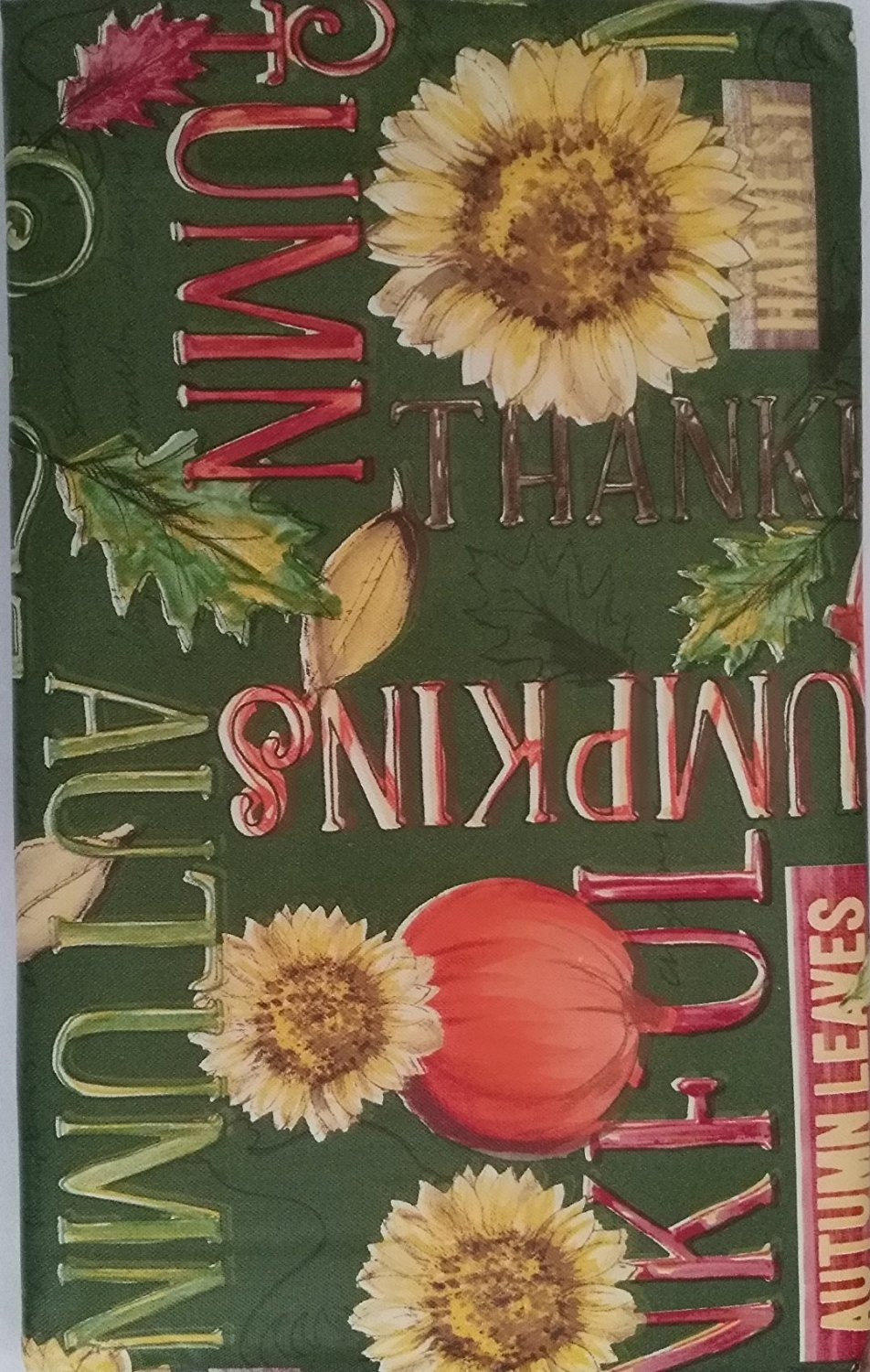 Autumn Sunflowers Pumpkins Words Vinyl Flannel Back Tablecloth Assorted Sizes