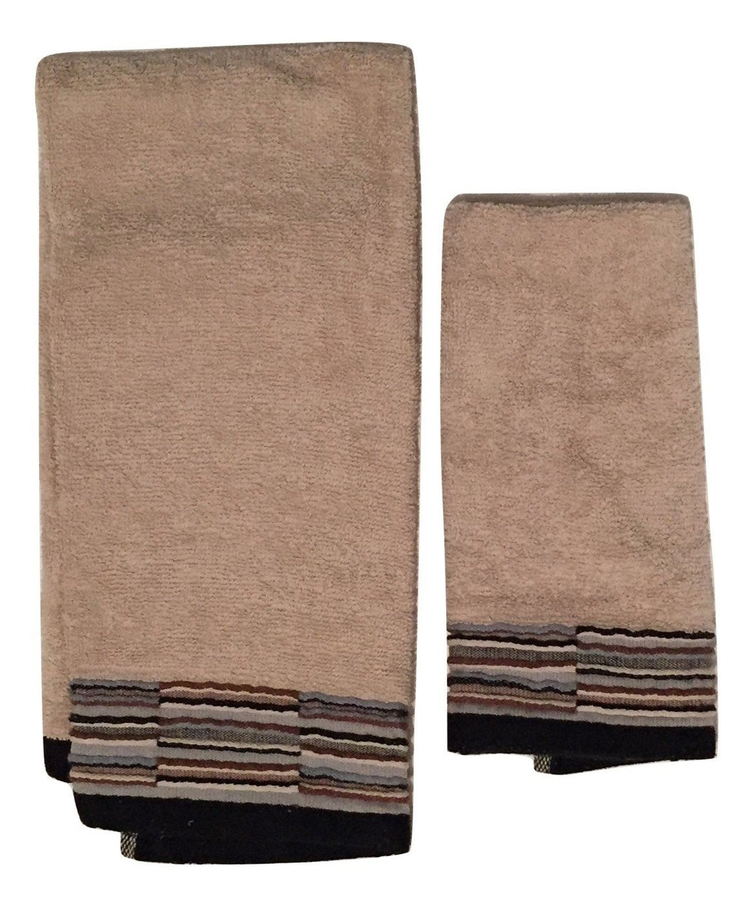 Saturday Knight Eclipse Black Natural 2 piece Bathroom Hand Finger Tip Towel Set