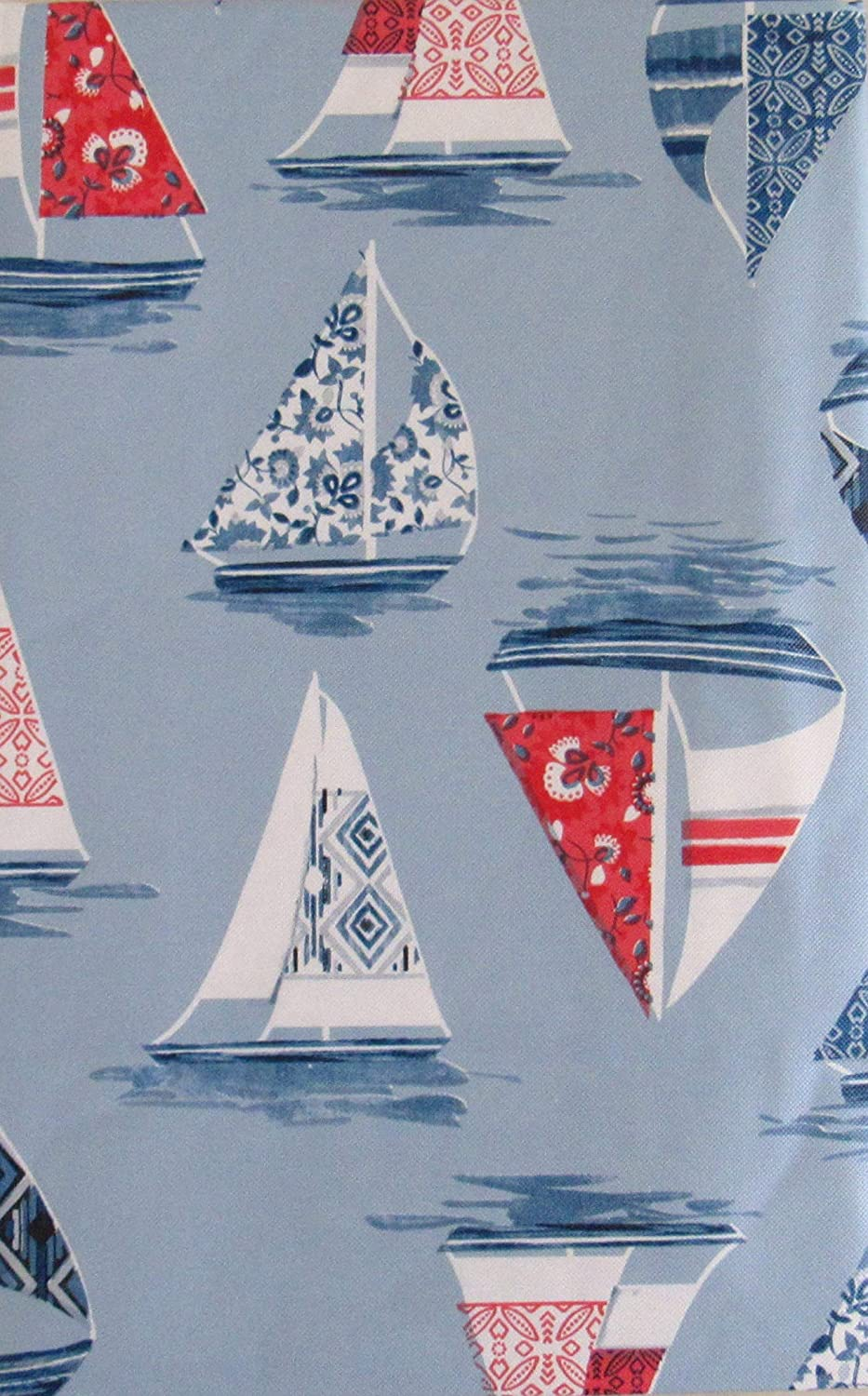 Sailboat Collage Vinyl Flannel Back Tablecloth 52
