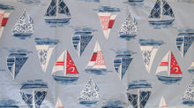 "Sailboat Collage Vinyl Flannel Back Tablecloth 52"" Square"