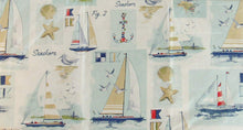 Sailing at the Seashore Patchwork Vinyl Flannel Back Tablecloth 52 x 70 Oblong