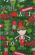 Christmas Vinyl Flannel Tablecloth Santas Elves 52 x 70 Oblong