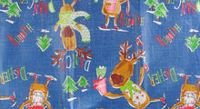 Santas Reindeer Christmas Party Vinyl Flannel Back Tablecloth Various Sizes