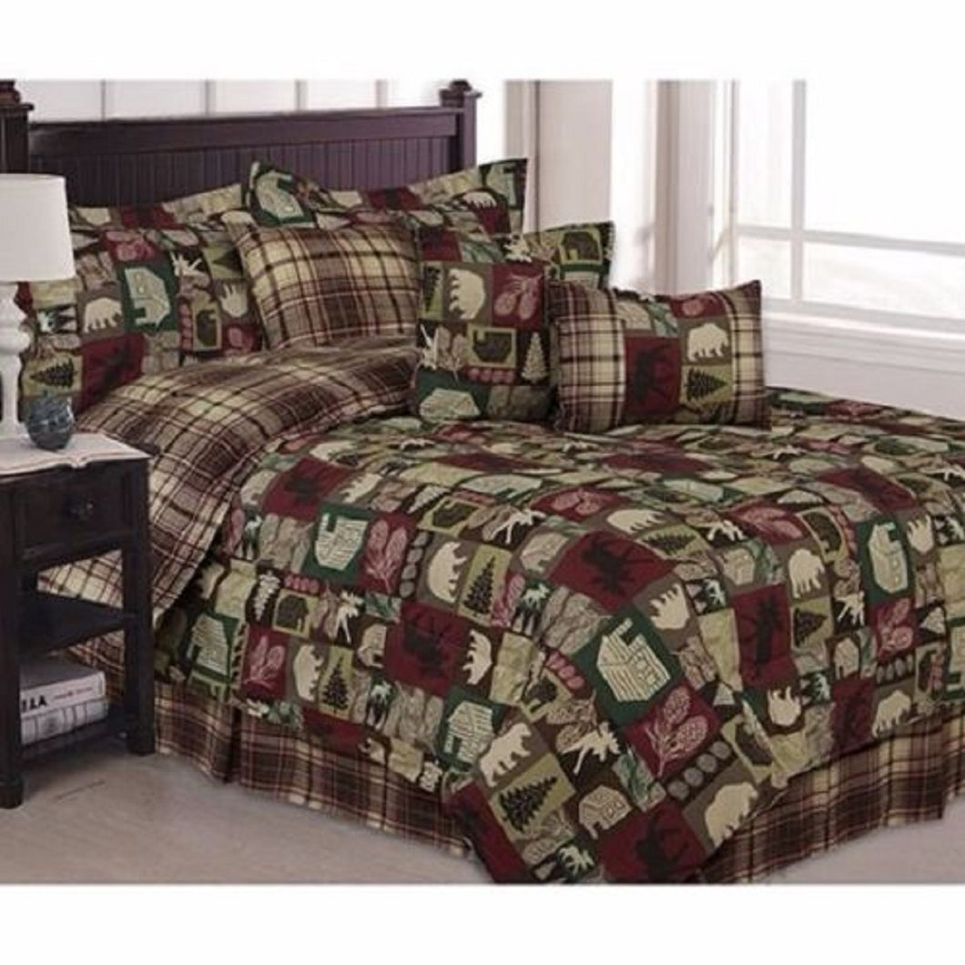 Cabin Bear Moose Saranac Patchwork Twin 5 piece Comforter Set