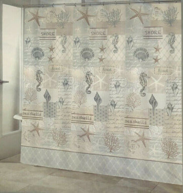 Seahorse Shells Fabric Shower Curtain Coastal Nautical Beach Summer On The Shore