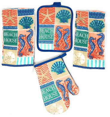 Seahorse Starfish Beach 4 pc kitchen towels potholder oven mitt set Coastal