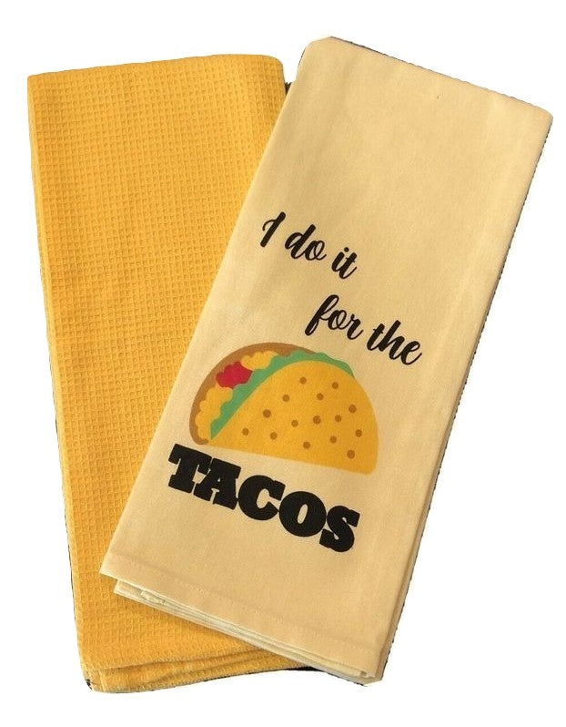Kitchen Towels Set of 2 I Do It For The Tacos Yellow Gold Park B Smith