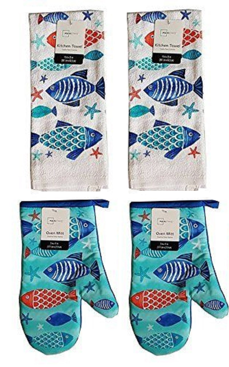 Sealife Fish Kitchen Towels Oven Mitts Set of 4 Coastal