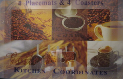 Set of 4 Vinyl Placemats and 4 Coasters Coffee Java Beans Espresso Mocha