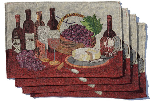 Tapestry Placemats Set of 4 Wine Cheese Grapes Vineyard Tuscany