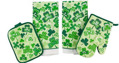 Shamrocks Clovers Kitchen Linen Set Towels Potholder Oven Mitt St Patricks Day