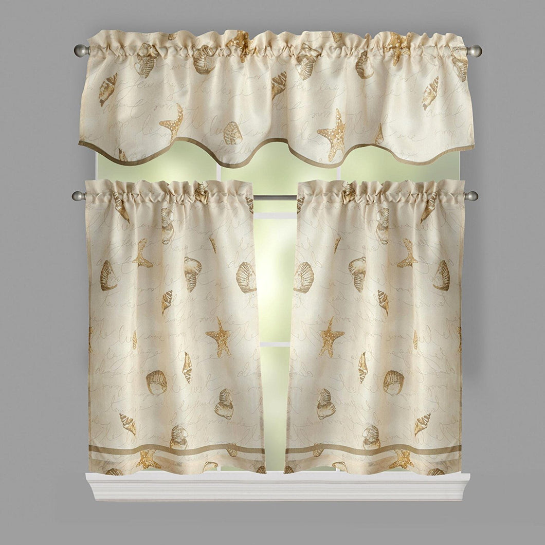 Ellery Homestyles 36 inch Tiers and Valance Curtain Set Shells Seashells