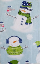 Snowmen Snow Birds in Winter Wonderland Vinyl Flannel Back Tablecloth