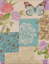 Elrene Flowers Butterflies Patchwork Vinyl Flannel Back Tablecloth 52 inch Sq