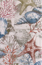 Seashells Starfish Coral Seaweed Collage Vinyl Flannel Back Tablecloth 60 Round