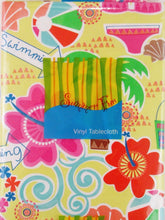 Elrene Summer Fun Hit The Beach Vinyl Flannel Backed Tablecloth 60 Round