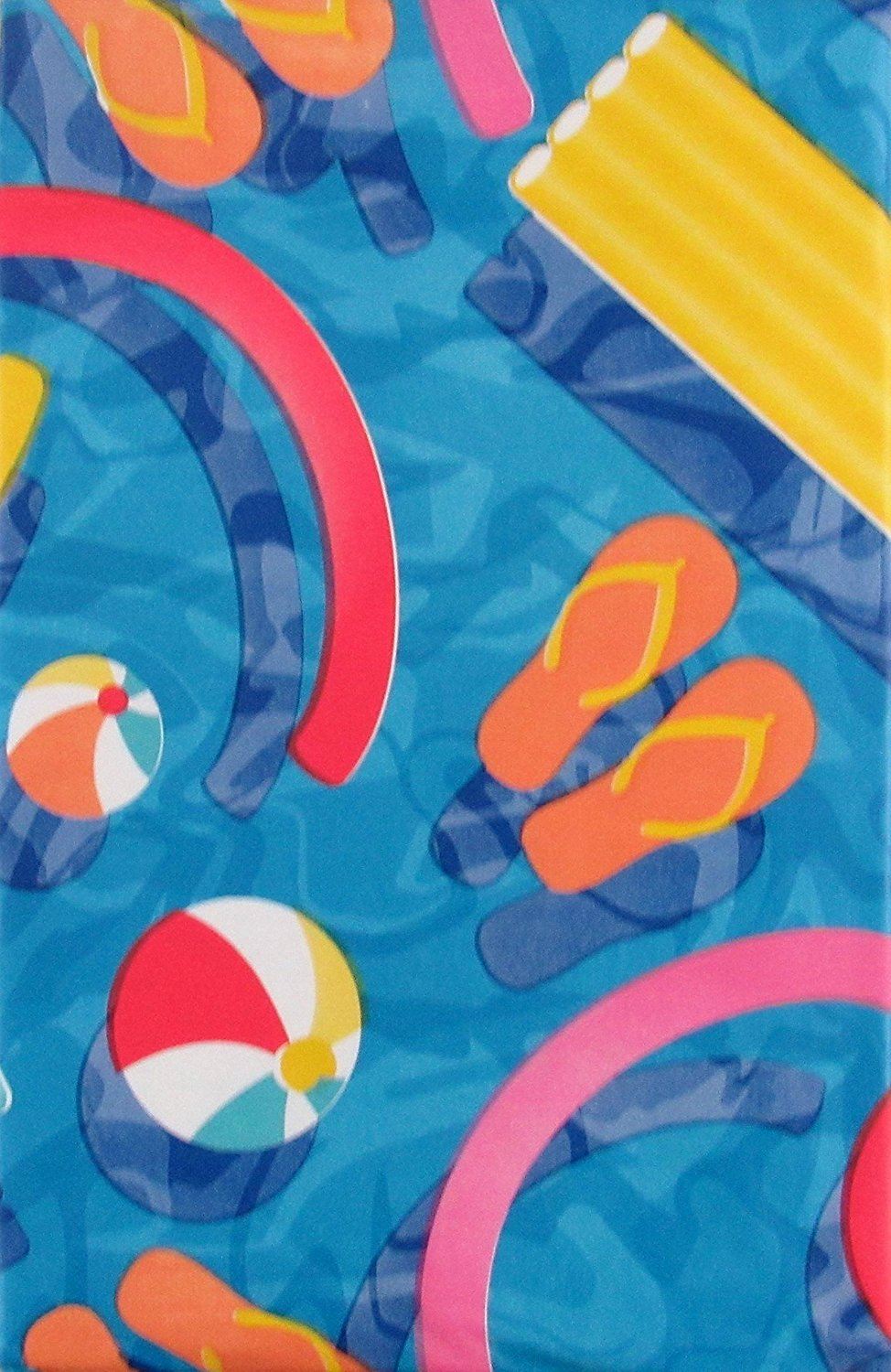 Elrene Vinyl Flannel Backed Tablecloth Blue 60 inch Round Pool Party