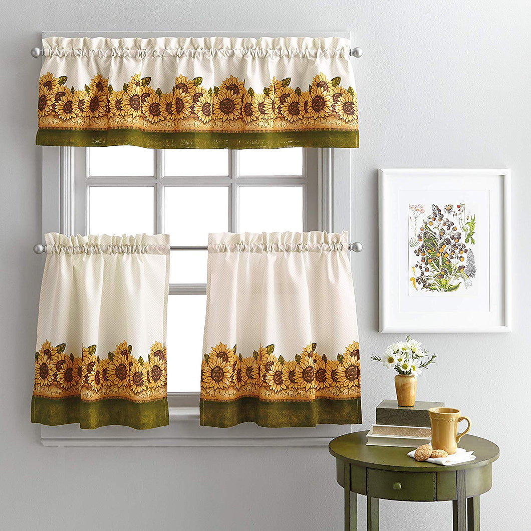 Sunflower Garden 36L Tier and Valance Set Kitchen Curtains