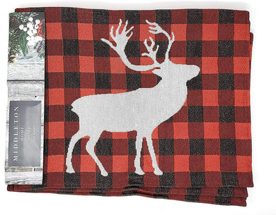Christmas Tapestry Placemats Set of 4 Red Black Buffalo Plaid Moose