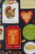 Thanksgiving Autumn Symbols Sentiments Patchwork Vinyl Flannel Back Tablecloth