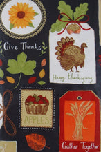 Thanksgiving Autumn Symbols Sentiments Patchwork Vinyl Flannel Back Tablecloth 52 x 70