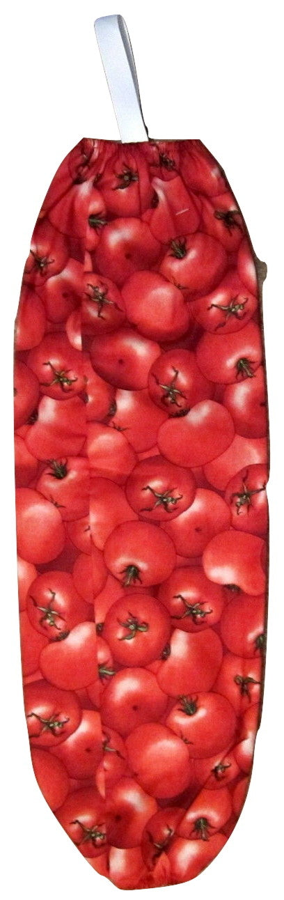 Tomato Tomatoes Fabric Plastic Bag Recycle Caddy Holder Dispenser Organizer